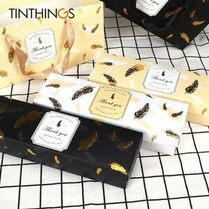 Image 2 - Coffret en papier pour bonbons au chocolat, coffret à offrir, 20 pièces, emballage à gâteau avec plumes de bronzage noires, sac en papier pour attentions pour fête danniversaire