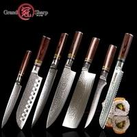 Grandsharp 7 pcs Damascus knife set vg10 Japanese Damascus steel kitchen knives full chef's set best family gift cooking tools