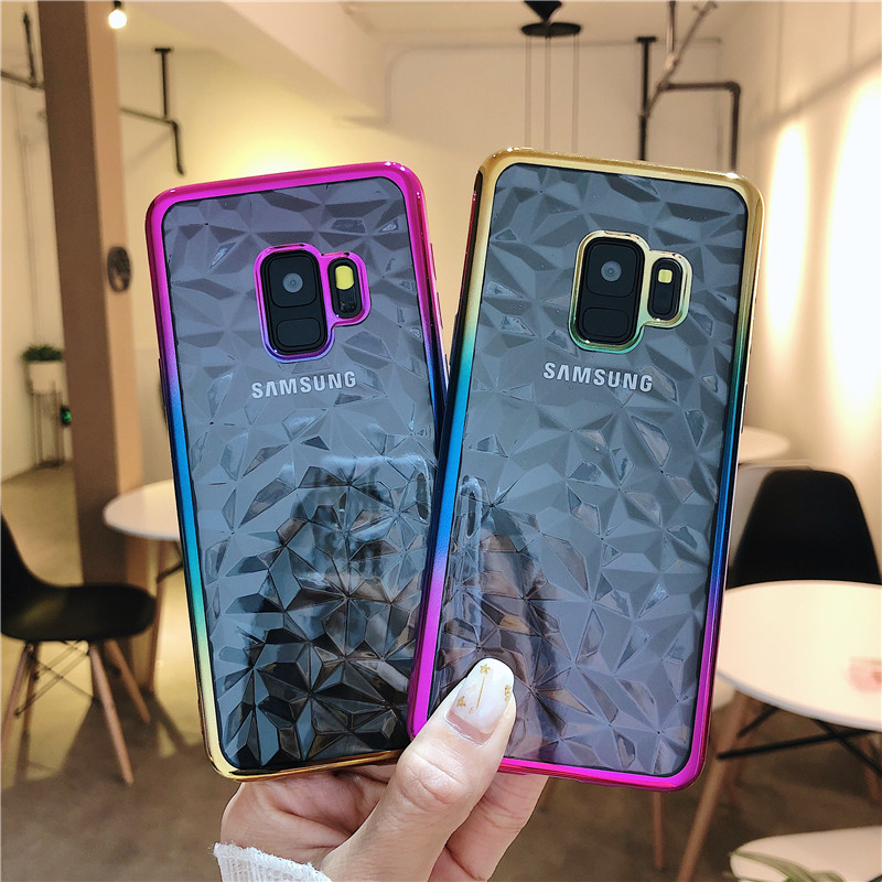 3D Diamond Gradient Plating Cover Solf TPU Cases For Samsung Galaxy S10 Lite S9 S8 Plus J4 J6 A6 A8 Plus 2018 Note9 8 Cover Capa