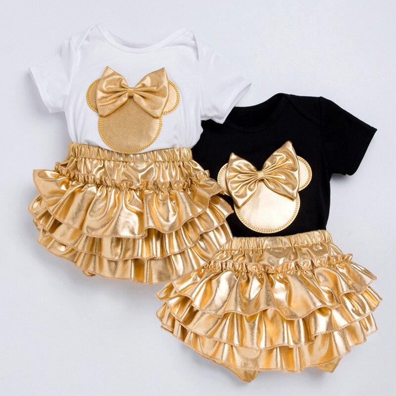 3Pcs Neugeborenen Baby Mädchen Outfits Mode Print Romper + Stirnband Anzüge Süße Infant Kinder Cartoon Minnie Kleidung Set Outwear 0-24M