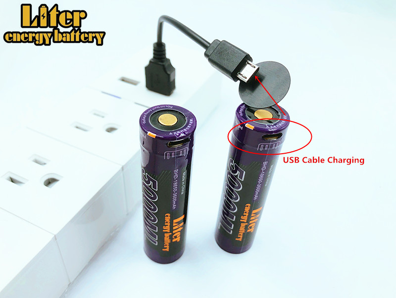 USB 5000 ML 3.7 V 18650 3500 mAh Bateria Recarregável de Li-ion USB 5000 ML LED Indicator Light DC-Carregamento + fio USB