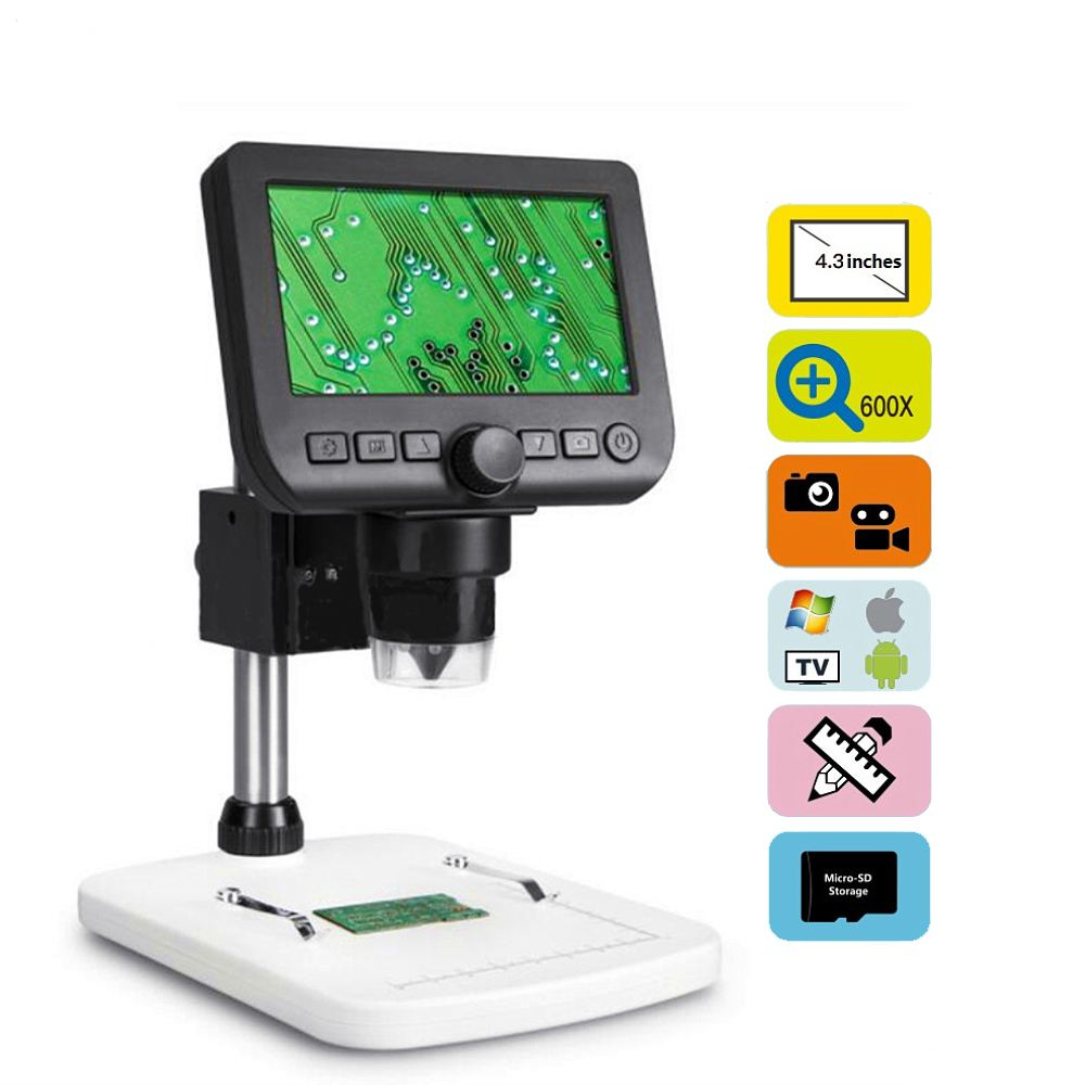 600X 4.3 Inch Large LCD Screen Digital Microscope Electronic Magnifier With 8 Adjustable High Brightness LED New600X 4.3 Inch Large LCD Screen Digital Microscope Electronic Magnifier With 8 Adjustable High Brightness LED New