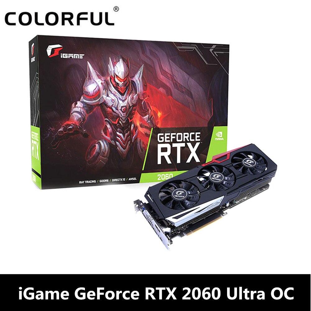 Carte graphique vidéo originale iGame GeForce RTX 2060 Ultra OC pour le jeu 6 GB GDDR6 192bit 1755 Mhz carte d'overclock à une clé