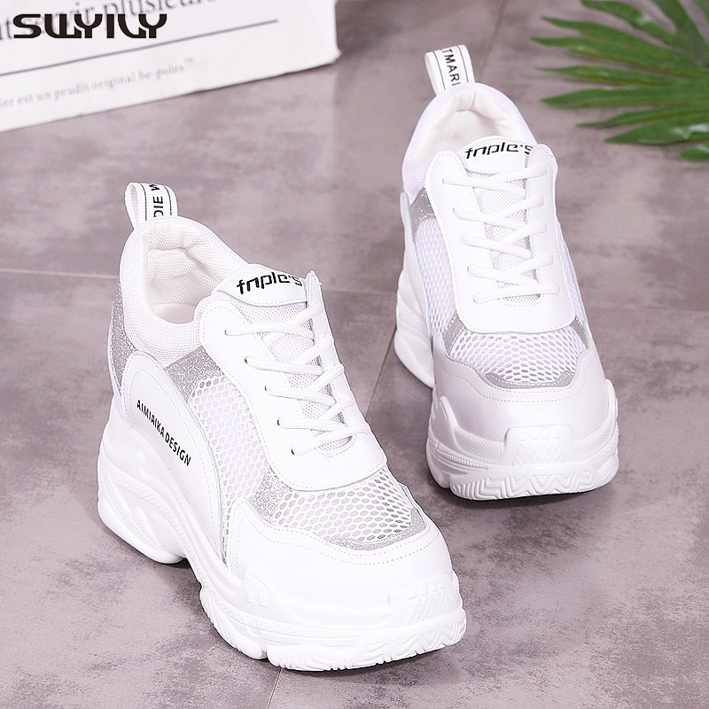 SWYIVY Sneakers White Women's Wedge High Heel Platform Shoes 2020 Summer Female Casual Shoes Mesh Hollow Sneakers Breathable