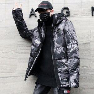 Image 2 - Streetwear kamuflaż kurtka zimowa mężczyźni z kapturem dorywczo mężczyzna płaszcz z kapturem Camo grube ciepłe męskie znosić