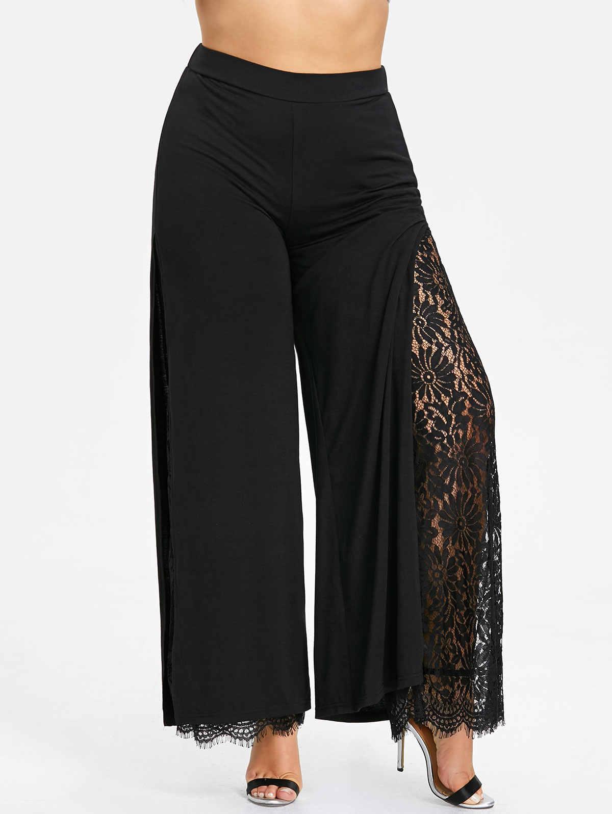 f28b1ffcbde7 Wipalo Plus Size Women Summer Wide Leg Pants Casual Loose High Slit Lace Palazzo  Pants Women
