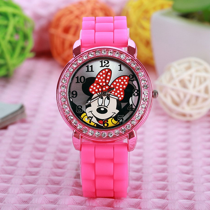 Hot Selling Cute Cartoon Mouse Dial Girls Ladies Women Crystal Watch Kids Children Cartoon Silicone Sport Watches Free Shipping
