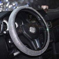 Luxury Full Diamod Rhinestone Leather Auto Steering Wheel Cover General Anti slip D shape Crystal Car Steering Cover for Women