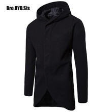 Winter Wool Blends Trench Coat Men Slim Fit Hoodie Japan Korean Style Office Suit Fashion Male Hoodied Jackets Man Clothing cheap Bro HYD Sis COTTON Microfiber Polyester Spandex Full Long Japan Style Turn-down Collar Solid Single Breasted STANDARD Button