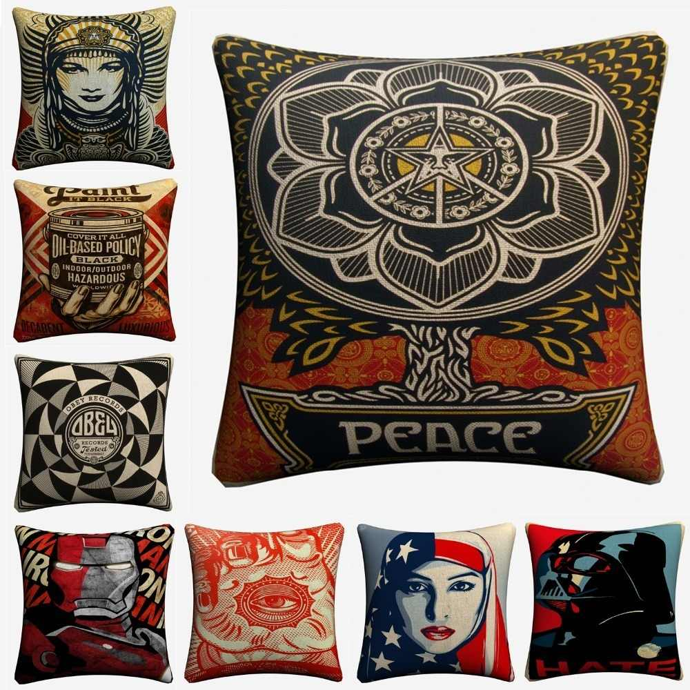Shepard Fairey Classic Quote Decorative Cotton Linen Cushion Cover 45x45cm For Sofa Chair Pillowcase Home Decor Almofada