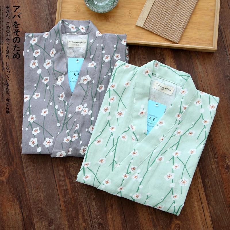 Japanese Kimono Pajamas Set Woman Pure Cotton Gauze Bathrobe Suit Flowers Short Sleeve Yukata Japanese Traditional Clothing New