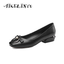 AIKELINYU 2019 Women Pumps Casual Comfortable Shoes New Spring Square Head Genuine Leather Fashion Metal Decoration