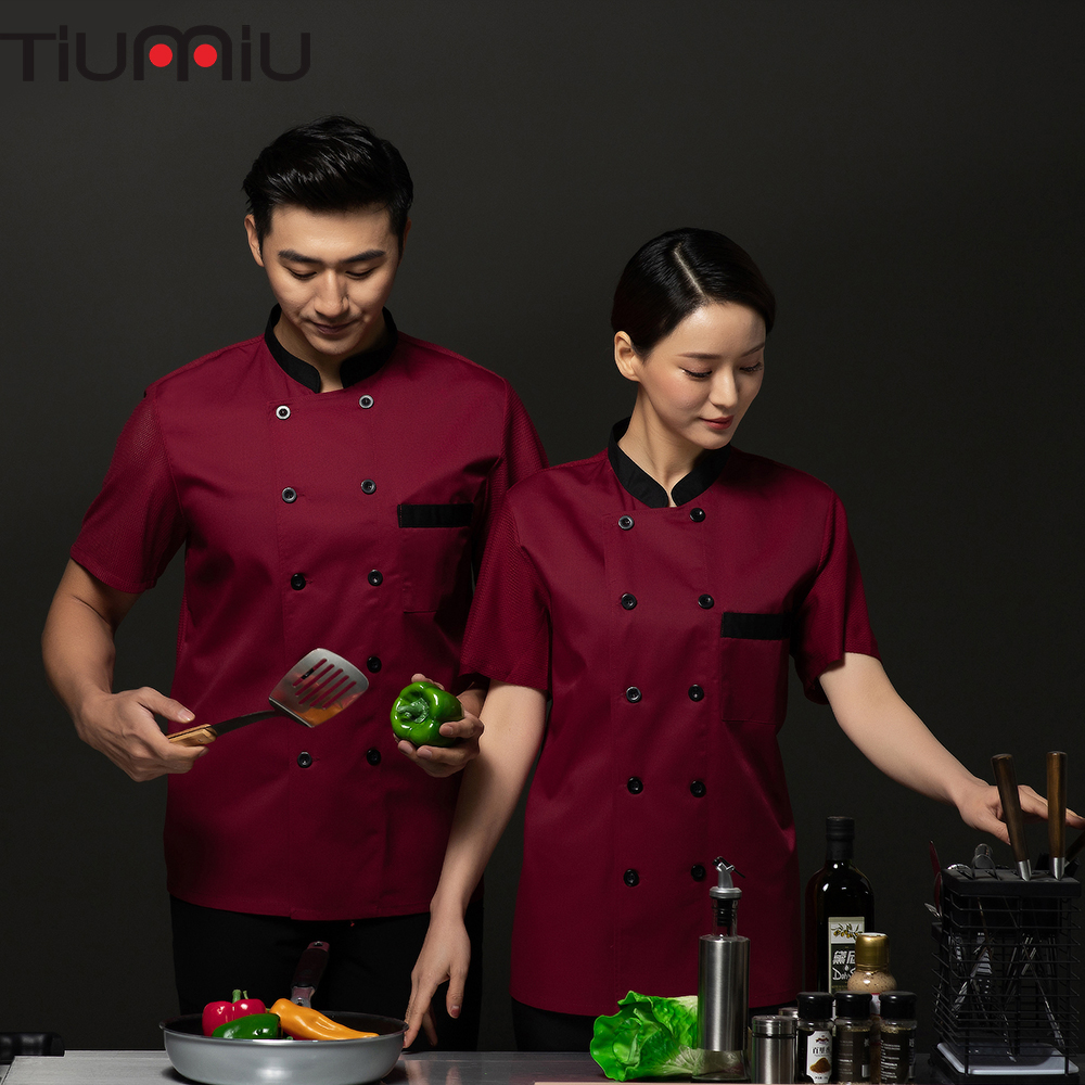 2019 High Quality Chef Uniform Breathable Mesh Short Sleeve Restaurant Cook Jacket Pub Bar Waiter Waitress Summer Work Clothes