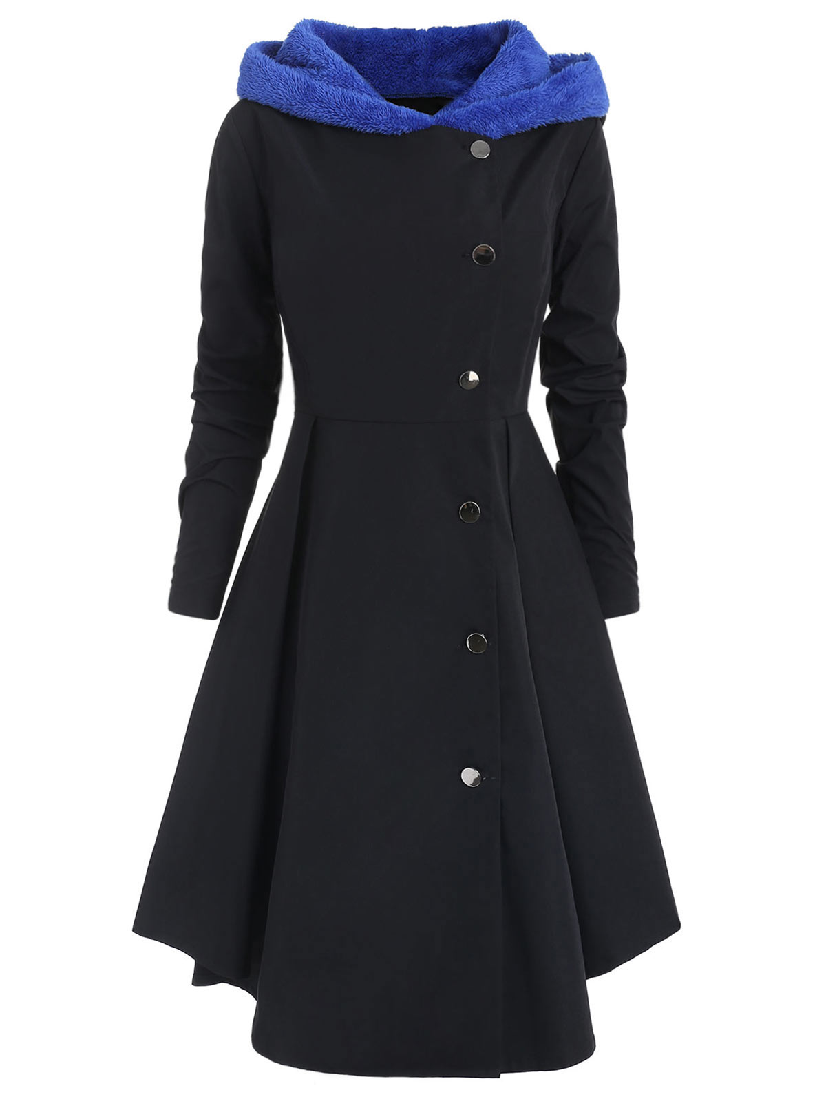 Wipalo Winter Plus Size Asymmetric Fleece Contrast Hooded Skirted Coat Women Coat Single Breasted Color Block Long Outwear Coats