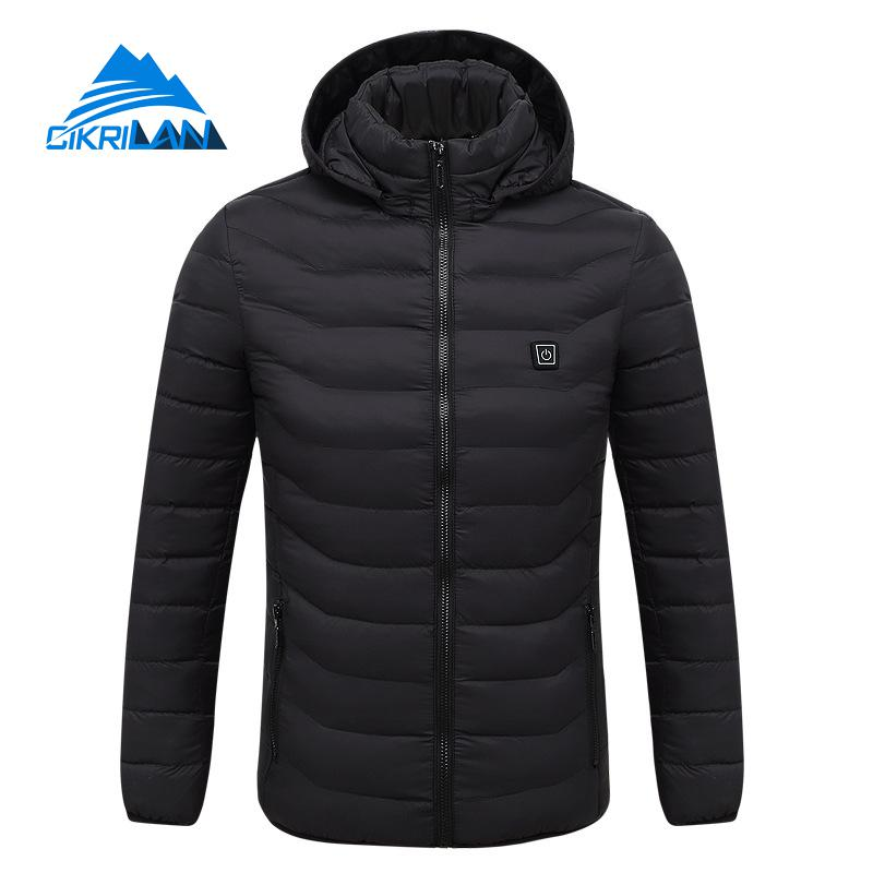 Winter Hooded Quilted Insulated Heated Camping Hiking Jacket Men Outdoor Sport Coat Heating Usb Charging Heated Parka Outerwear