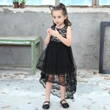 Kids Girls Dress New Summer 2019 Swallowtail Lace Sleeveless Baby Cotton Lined childrens clothing