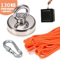 130kg D60mm Block Neodymium Magnets Magnetic Powerful Hooks Hanger Magnet Salvage Tool with 10 Meter Rope