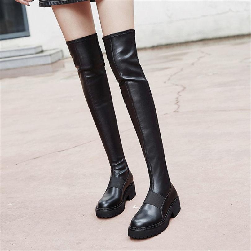 bcaae7a4375824 Chaussures Chaud De Baskets En Élastique Le Bottes Mince Sur Femmes Genou  Équitation Noire Jambe Black ...