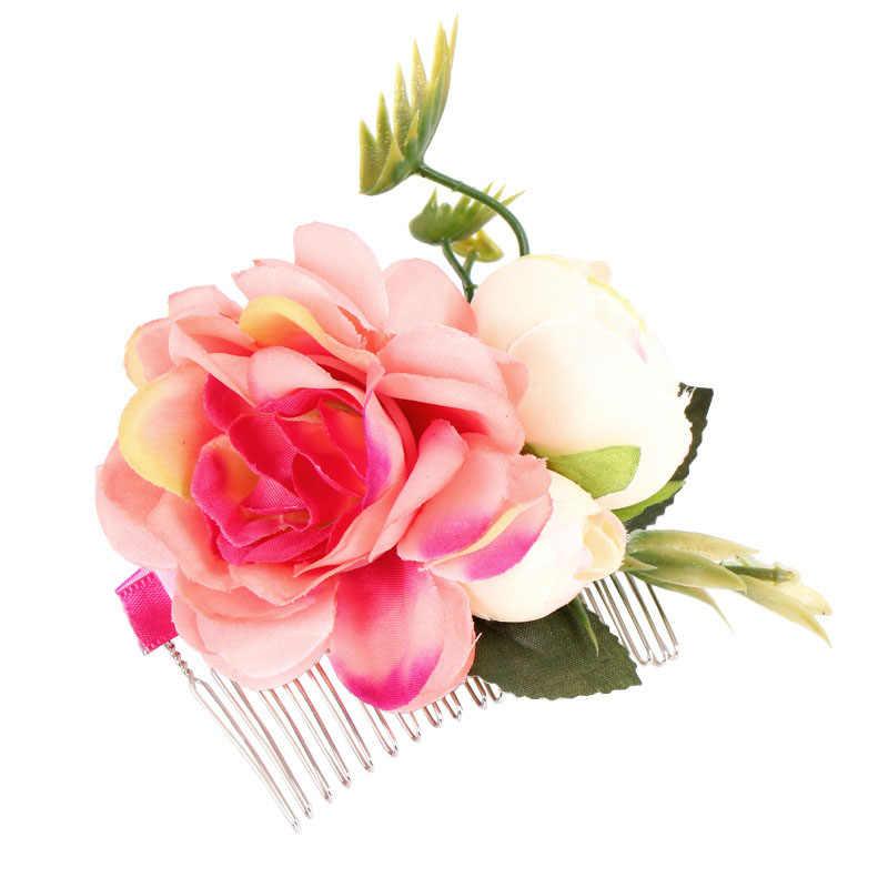 Горячая Распродажа, 1 шт., заколка для волос невесты с розами, Женская богемная заколка для волос, для вечеринки, свадьбы, пляжа, цветы, аксессуары для волос