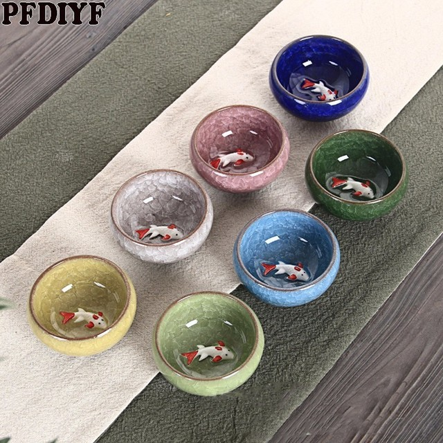 1 Pcs Crackle Glazuur Vis Thee Cup Draagbare Keramische Theekopje Kung Fu Thee Set China Kung Fu Thee Set Keramische cup