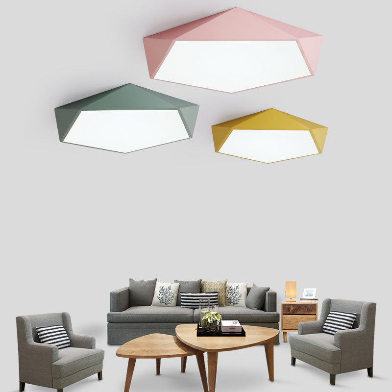 Nordic LED Stepless Dimming Ceiling Lamp Modern Simple Living Room Bedroom Diamond Macarons Terrace Patio Lighting