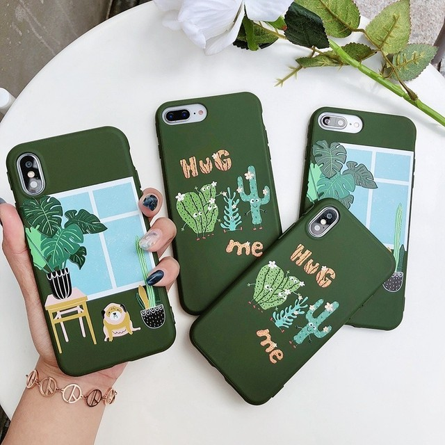Candy Color Leaf Print Phone Case for iPhone Cactus Plants Fashion Soft TPU Rubber Silicon Cover  2