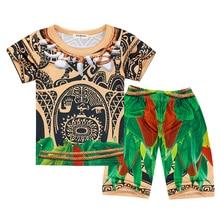AmzBarley Moana Maui Pajamas Cartoon Nightgown Boys 2-Pieces Shirt+shorts Sleepwear cosplay Halloween Nightwear 2T-10T clothes
