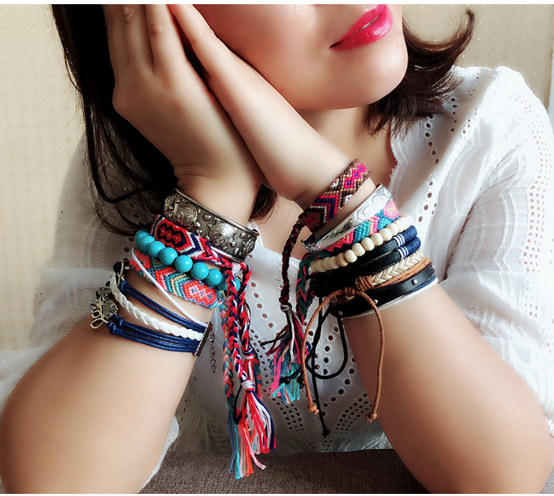 Bohemian Weave Cotton Charms Bracelet Girl Brazilian Weave Rope String Handmade Bracelets for Women Drop Shipping 3