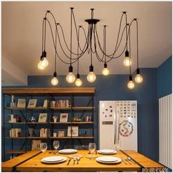 Loft LED kreatywny pająk światła żyrandol dla Bar kawiarnia proste ryby drutu żelaza droplight eksperymentalnych butelka światła