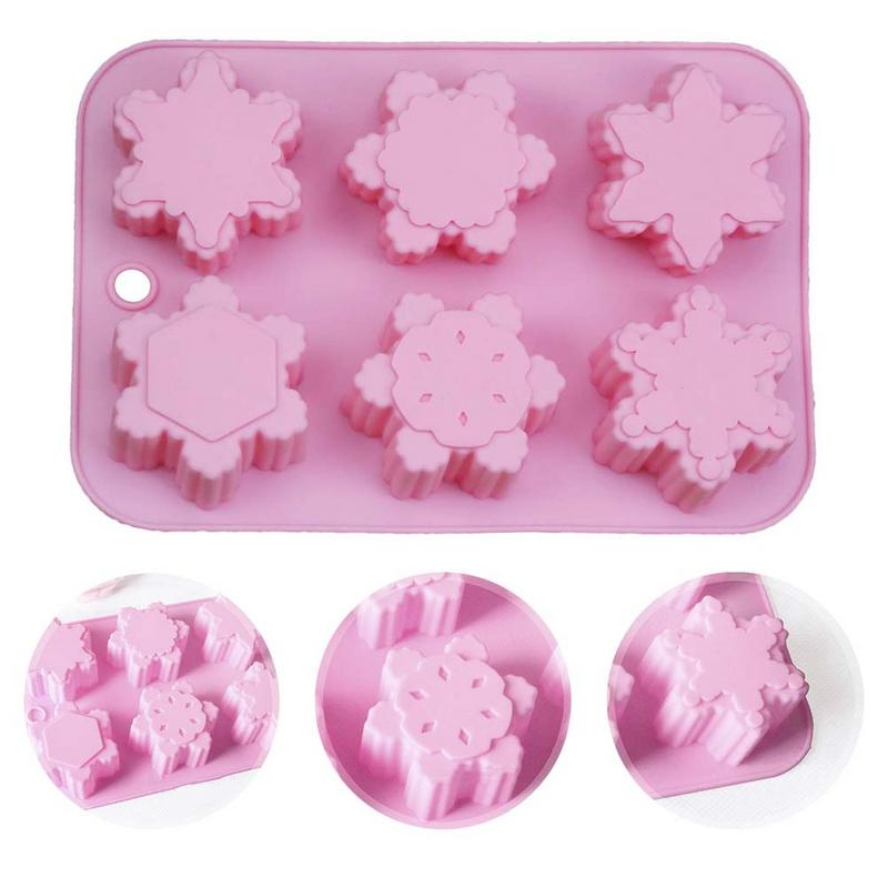 6 shape Christmas Snowflake Silicone Cake Soap Mold DIY Handmade pudding chocolates candle jellies aromatherapy stone Mold in Soap Molds from Home Garden