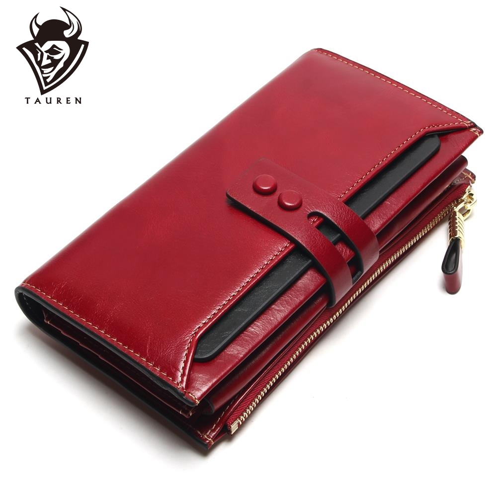 Tauren 2020 New Women Wallets Genuine Leather High Quality Long Design Clutch Cowhide Wallet High Quality Fashion Female Purse