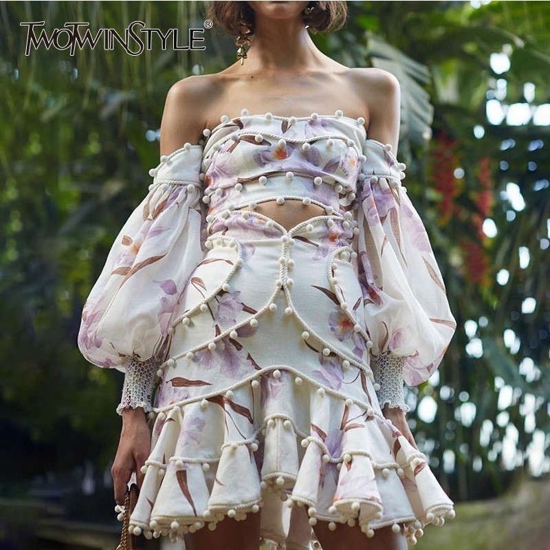 TWOTWINSTYLE Patchwork Hair Bulb Print Two Piece Set Female Slash Neck Puff Sleeve Crop Tops High Waist Skirts Womens Suits 2019