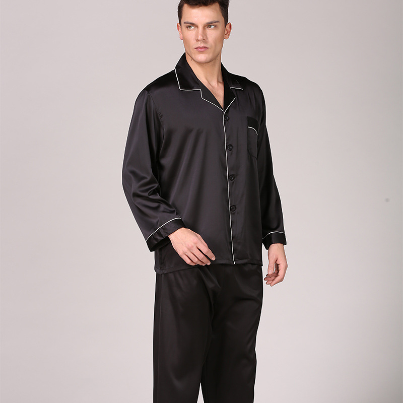 Man Black Silk Pajamas Xia Long Sleeve Solid Color Suit Will Code Home Furnishing Tracksuit Pijama Hombre Set Red,Black