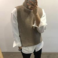 Autumn Winter New Men Turtleneck Sweater Slim Fit Fashion Solid Color Casual Sleeveless Knit Pullover Man Vest Male Clothes M XL