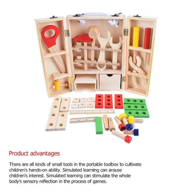 Kids Baby Wood Multifunctional Tool Set Toys Funny Educational  DIY Maintenance Box Pretend Toys for Children Birthday Xmas Gift