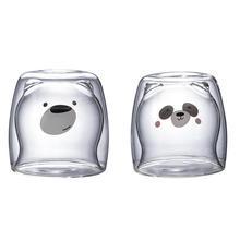 3D 2-х уровневые и рисунком милой панды медведь инновационные пива Стекло es термостойкие двойными стенками Кофе чашка утро молоко Стекло сок Стекло