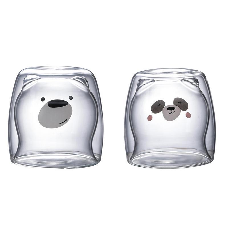 3D 2 niveles adorable oso Panda innovadores vasos de cerveza resistente al calor doble pared taza de café mañana leche vidrio jugo de vidrio LuKLoy LED luces colgantes espejo bola de cristal fuegos artificiales lámpara colgante para desván restaurante Bar Comedor Cocina isla