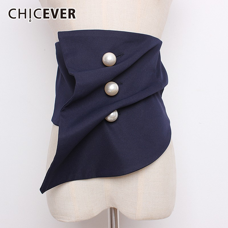 CHICEVER Pearls Button Female Belts Black Irregular Corset Wide Belt For Women Blouse Accessories Autumn Fashion Vintage Tide
