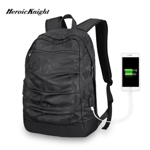 Image 2 - Heroic Knight USB Charging Laptop Backpack 17inch for Men Camo Black Fashion Masccline Bags Travel Backbags large Capacity Bag
