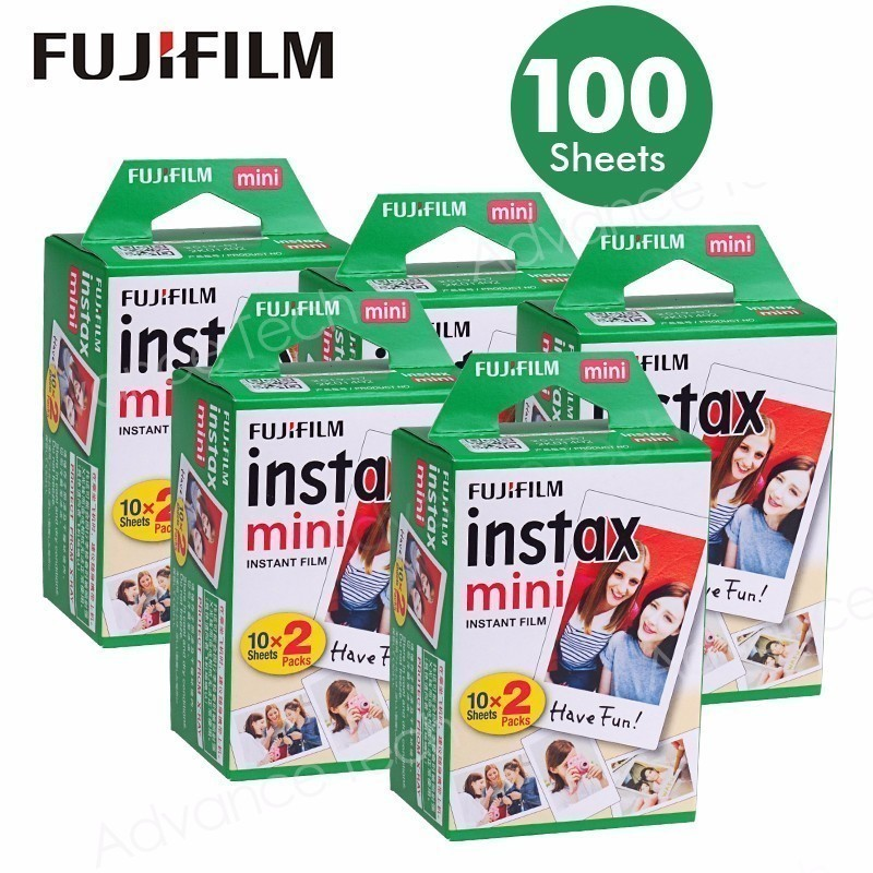 100 Sheets Fujifilm Instax Mini 8 film for Fuji 7s 9 70 25 50s 90 Instant Photo Camera White FilmShare SP 1 SP 2