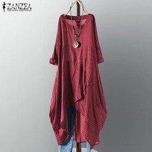 ZANZEA Women Check Plaid Dress 2019 Summer Sundress Ladies Casual Stylish Asymmetrical Hem Vestidos Vintage Cotton Linen Dresses