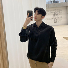 Shirt Spring-Fashion-Clothes Streetwear Long-Sleeve Black New Two-Color Standard Solid
