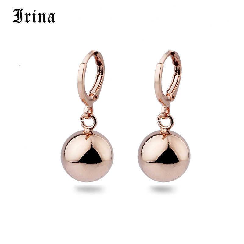 Irina New Arrivals 585 Rose Gold Spherical Round Dangle Earrings Women Wedding Party Exquisite Jewelry