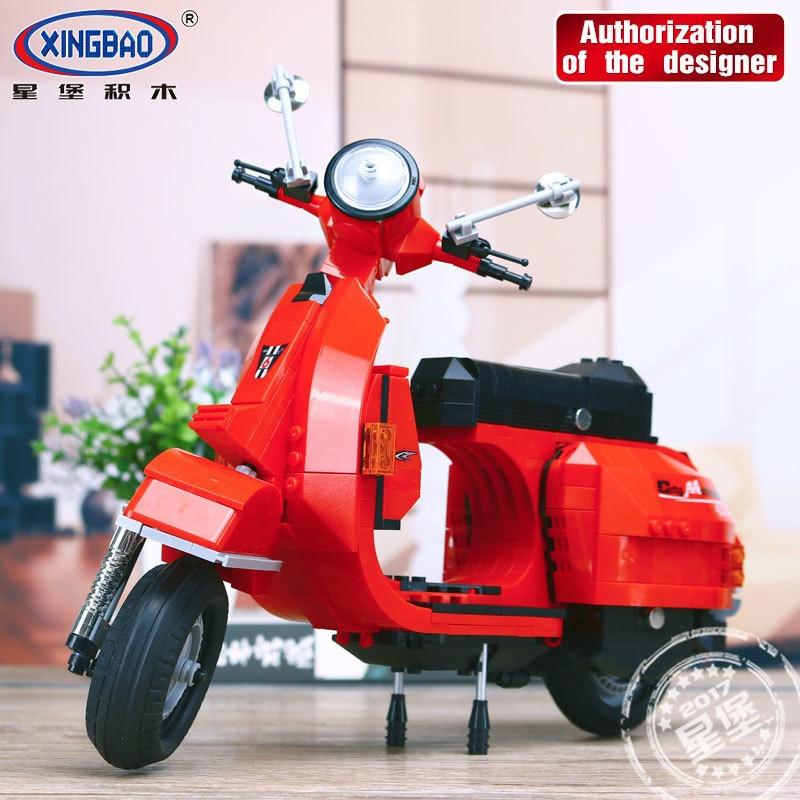 XingBao Building Blocks Model Classic Series Vespa White Motorcycle Toy 732PCS