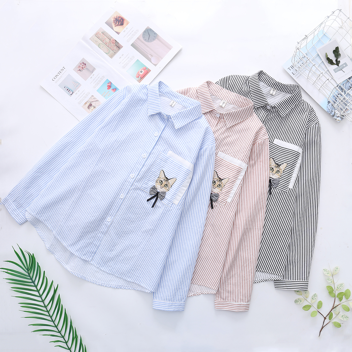 NEW School Wind Small Fresh Stripe Lovely Kitty Embroidery Shirt Woman Easy Joker Long Sleeve Shirt Spring Autumn BOW Blouse Tos in Blouses amp Shirts from Women 39 s Clothing