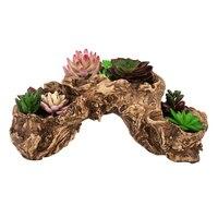 Resin Artificial Twisted Driftwood Planter Tool Flower Pot Sculpture Succulent Planter Multilayer 3 Pots for Decoration
