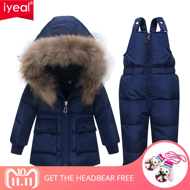 IYEAL Winter Girls Clothing Sets Children Boys Down Jackets Kids Snowsuit Warm Baby Ski Suit Duck Down Outerwear Coat+Overalls иберогаст капли для приема внутрь 100 мл