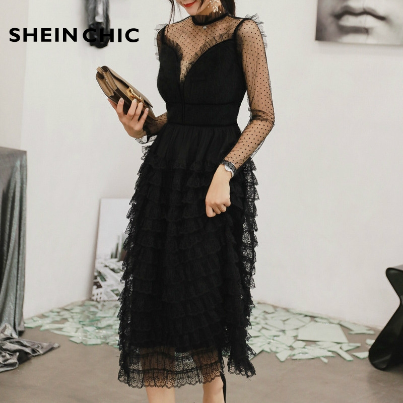 <font><b>Spring</b></font> Runway Designer <font><b>Dress</b></font> 2019 <font><b>Women</b></font> <font><b>Sexy</b></font> Elegant Ruffled Long <font><b>Sleeve</b></font> Black Polka Dot Mesh Pleated Midi Party <font><b>Dress</b></font> image