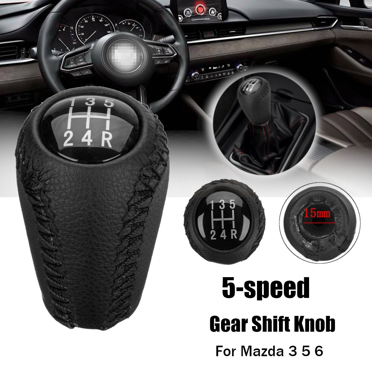 PQY 6 Speed Manual Gear Shift Knob Ball Shifting Stick Handle Vehicle Shifter Lever Head for Universal Automatic Transmission Car M12x1.25 M10x1.5 M10x1.25 M8x1.25