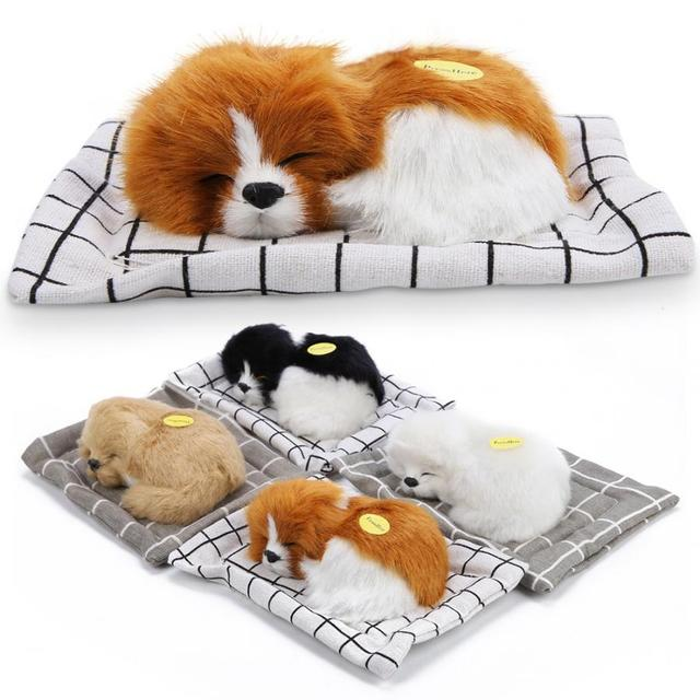 Electronic Pet Toys Lovely Simulation Animal Doll Plush Sleeping Dogs with Sound Kids Toy Decorations Birthday Gift For Children